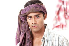Handsome villager. From north indian subcontinent wearing head wrap Stock Image