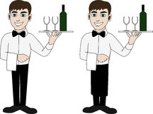 A waiter in a bow tie Royalty Free Stock Image