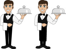 A waiter in a bow tie Royalty Free Stock Photography