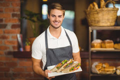 Handsome waiter holding a plate of sandwiches Royalty Free Stock Images