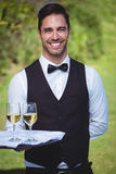 Handsome waiter holding a tray with two glasses of wine Royalty Free Stock Photo