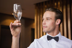Handsome waiter inspecting a wine glass Stock Photo