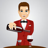 Handsome waiter pouring wine into glass. Illustration of handsome waiter pouring wine into glass Stock Photos