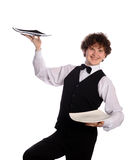 Handsome waitress with plates Stock Photo
