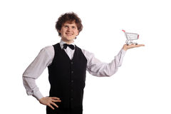Handsome waitress with small metal Royalty Free Stock Image