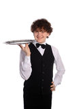 Handsome waitress with tray Royalty Free Stock Photography