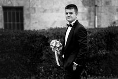 Handsome wealthy stylish groom Stock Photography