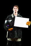 Handsome welder holding a blank form. isolated on Stock Images