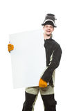 Handsome welder holding a blank form. Royalty Free Stock Image
