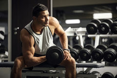 Handsome well built man training Stock Photography