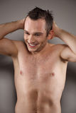Handsome and wet young man Royalty Free Stock Photography