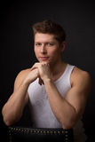 Handsome in white undershirt Royalty Free Stock Photography