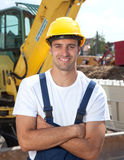 Laughing worker loves working on construction site Royalty Free Stock Photos