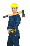 Handsome worker man with ax Royalty Free Stock Photos