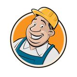Handsome worker in a sign. Clipart of a handsome worker in a sign royalty free illustration