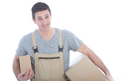 Handsome Worker in White Background Stock Images