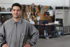 Handsome working standing with copy space stock photo