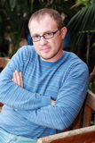 Handsome 35 years old man. With glasses outdoors Stock Photos
