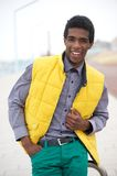 Handsome Young African American Man Smiling Outdoors Stock Images