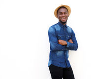 Handsome young african guy smiling with hat Stock Photography