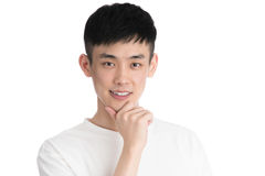 Handsome young asia man - isolated over a white background Royalty Free Stock Images