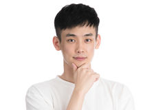 Handsome young asia man - isolated over a white background Royalty Free Stock Photo