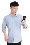 Handsome young asia man - isolated over a white background Royalty Free Stock Photos