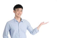 Handsome young asia man - isolated over a white background Royalty Free Stock Image
