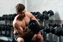 Handsome young athlete working out at the gym stock images