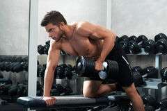 Handsome young athlete working out at the gym Stock Image