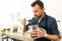 Enjoying the smell of coffee royalty free stock images