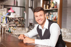 Handsome young barman is working in bar stock image