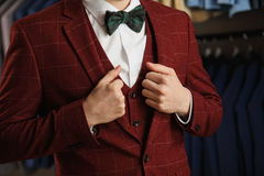 Handsome Young Bearded Businessman In Classic Suit. Man Wears A Jacket. It Is In The Showroom, Trying On Clothes, Posing. Advertis Royalty Free Stock Photography