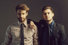Handsome serious sexy stylish businessmen. Handsome young bearded businessmen friends in jacket, shirt and tie has fashionable hair and serious face on grey royalty free stock photo