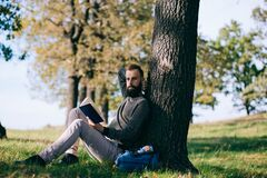 Free Handsome Young Bearded Student Man Hipster Reading Book In Park On A Summers Sunny Day Royalty Free Stock Photo - 178667295