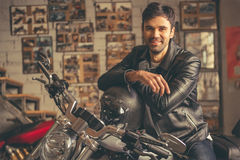 Handsome young biker Royalty Free Stock Photography