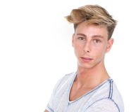 Handsome young blond man looking at camera Stock Photos
