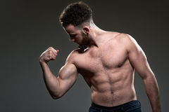 Handsome young body builder, on grey background Royalty Free Stock Photo