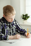 Handsome young boy doing homework Royalty Free Stock Photo