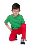 Handsome young boy in the green shirt Royalty Free Stock Photo