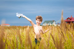 Handsome young boy having fun playing on the meadow in summer wi Stock Image
