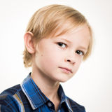 Handsome Young Boy In Smart Blue Shirt Stock Photography