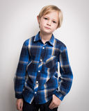 Handsome Young Boy In Smart Blue Shirt Royalty Free Stock Photos