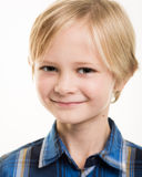 Handsome Young Boy In Smart Blue Shirt Stock Image