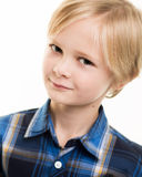 Handsome Young Boy In Smart Blue Shirt Royalty Free Stock Image
