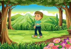 A handsome young boy standing in the forest Stock Photography