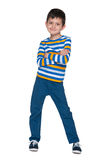 Handsome young boy in the striped shirt Royalty Free Stock Photography