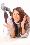 Handsome young brunette woman Stock Photos