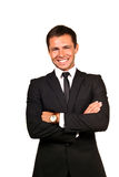 Handsome young business man. Portrait of a handsome young business man smiling royalty free stock photography