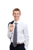 Handsome young business man happy smile Stock Photos